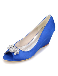 Zapatos de novia de satén 6.5cm Zapatos de Fiesta Zapatos azul  de tacón de cuña Zapatos de boda de punter Peep Toe con pedrería