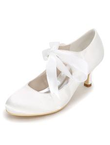 أحذية الزفاف الأبيض الساتان جولة تو الرباط حتى أحذية الزفاف المرأة هريرة الكعوب