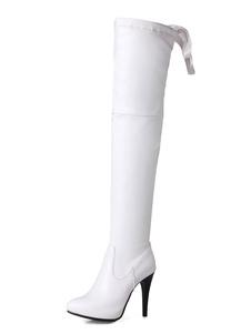 Белый над сапогами колена Высокие ботинки сапоги Круглые носовые сапоги на высоком каблуке для женщин