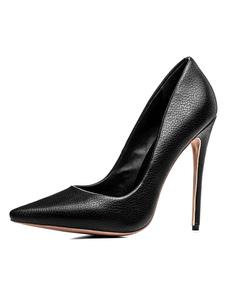 Zapatos de tacón de puntera puntiaguada de PU negros Color liso de tacón de stiletto