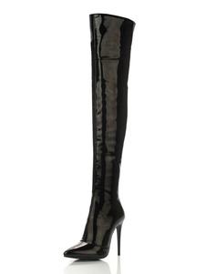 Черные высокие сапоги женщин над сапогами на коленях Направленные носовые лакированные сапоги на высоком каблуке