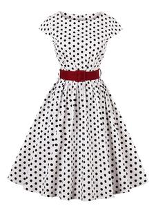 Vestido vintage de algodão com cinto com mangas curtas Outono retro gola redonda com pontos
