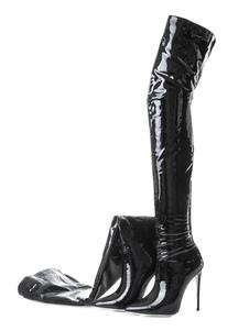 Черные сапоги Сапоги на высоком каблуке Заостренный носок Лакированные кожаные сапоги