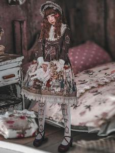 الحلو لوليتا أوب قطعة واحدة اللباس إنفانتا طويلة الأكمام الدانتيل الكشكشة الانحناء بيتر بان طوق الشيفون لينة الوردي لوليتا اللباس