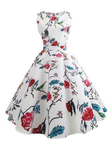 Белый Vintage платье Цветочные печати Круглые шеи без рукавов линии чайные платья для женщин