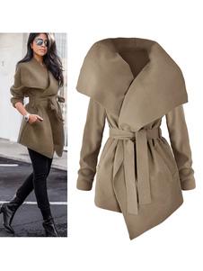 Cappotto monocolore chic & moderno cotone misto cintura