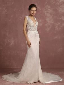 Русалка свадебное платье v-образным вырезом иллюзия кружева бисером Чапле поезд свадебное платье