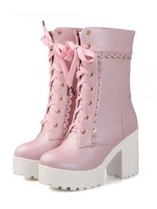 8cff78958ada Lolitashow Matte White Lolita Short Boots Chunky Square Heels Platform ...