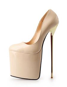 Moda cielo tacones de dedo del pie redondo plataforma PU superior las mujeres