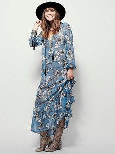 Boho Maxi Dress in Chiffon leggero immergendo collo manica lunga blu  floreale stampato abito lungo plissettato 72d7ae25e79
