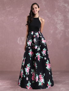 Flroal Maxi Vestido Aberto Para Trás Das Mulheres Sem Mangas Casual Vestido