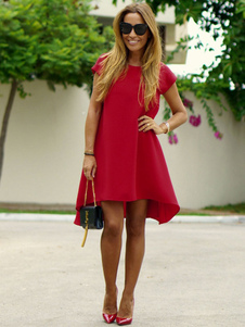Saia reta gola redonda para informal de gaze cor sólida vermelha vestido solto médio High-Low