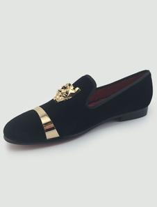 Sapatos Mocassim preto masculino plano de dedo do pé redondo flanela fácil de Metal