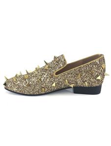 Mocassins de ouro lantejoulas homens metálicos deslizamento em sapatos de festa Spike Shoes