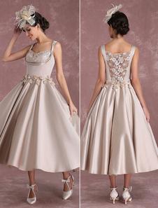 Свадебные платья из шампанского Vintage Satin Короткие свадебные платья Квадратные шеи Цветы Аппликация Иллюзия Принцесса Свадебное платье в длину чая Milanoo