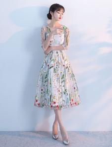 Платья выпускного вечера 2020 Короткие флористические платья для коктейля с короткими рукавами