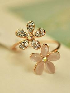 Golden Open Ring Daisy Design Rhinestone Gemstones Beaded ajustável feminino chic anel