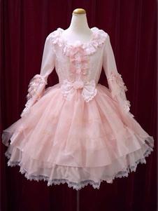 Sweet Lolita Vestido OP Pink Bow Hime manga vestido de bola Lolita One Piece Dress�