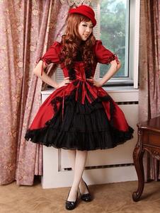 Borgoña en capas vestido de algodón Gothic Lolita para mujeres