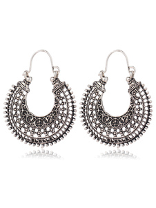 Boho Hoop Earrings Estilo étnico em relevo Silver Vintage Pierced Earrings