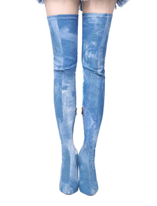 Blue Stretch Botas High Heel Mulheres sobre o joelho Pointed Toe Thigh High Boots
