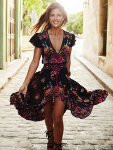 Boho Maxi Dress V Neck Short Sleeve High Split Floral Print Long Wrap Dress