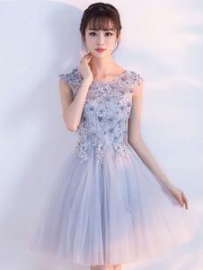 Tulle Homecoming Dress Кружева Аппликация Светло-серый Короткие платья выпускного вечера 2020