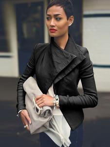 Giacca corta del collare del turndown del cuoio del faux del rivestimento del Moto delle donne