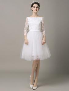 Группа короткие платье Бато кружева аппликация ленты створки тюль Пром Платье свадебное Milanoo