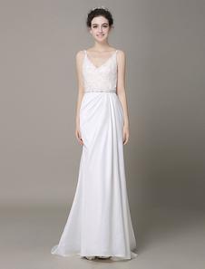 Атласная свадебное платье погружаясь декольте лук Электростимулятор кружева бисером вечернее платье Milanoo