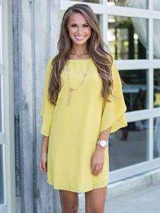 Shift amarelo vestido joia do Chiffon pescoço eriçadas meia manga verão vestido de grandes dimensões