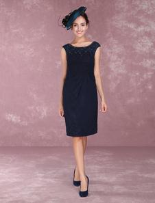 Vestido para la madre de los novios de color azul marino oscuro con escote redondo sin mangas con cuentas ajustado hasta la rodilla