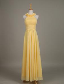 Шифона платье желтый цветок Crewneck A линия долго свадебное платье партии