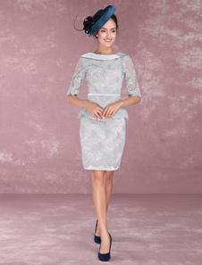 Мать невесты Платья Кружева Sheath Peplum Коктейльные платья Half Sleeve V Back Knee Length Свадебные платья для гостей