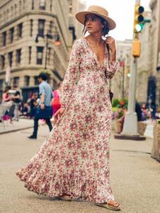 فستان ماكسي لون زهري فستان نسائي طويل بياقة V مزين بطبعة ورود كشكش مطبوع 2020