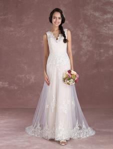 Летние свадебные платья 2020 Boho Champagne Beach свадебное платье кружево аппликация V шеи рукавов свадебное платье с поездом Milanoo