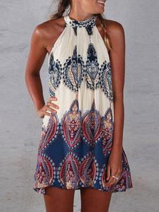 Vestido De Verão Boho 2020 Mulheres Floral Imprimir Pescoço Pendurado Extra Grande Vestido Curto