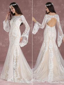 Vestido de novia bohemio 2020 de verano Sirena de encaje de flores vestido champaña con cola