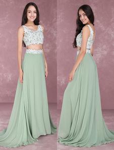 Платья выпускного вечера шифоновое 2 части отбортовывая случайное платье Sage зеленая кружева Applique безрукавная длина пола платья партии Milanoo