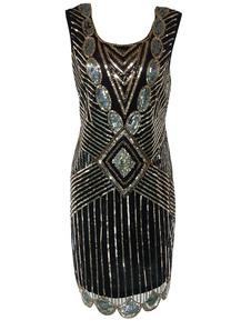 1920-х годов Мода Хлопушка Платье Великий Гэтсби Винтаж Костюм женщин Блесток Черное Платье Хэллоуин