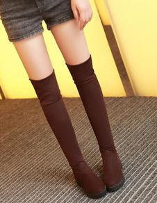 Botas altas da coxa Round Toe Micro Suede superior sobre as botas do joelho