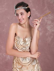 Costume Carnevale Vestiti Anni 20 per donne Oro  Vestito Flapper lungo fino al terra Costumi Retro in tessuto con lustrini halloween