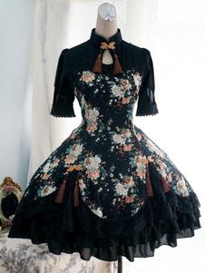 Vestido de Algodão preto Qi Lolita uma peça vestido mangas curtas Peony impressão ata acima