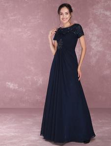 Vestido para la madre de los novios de color azul marino oscuro con escote redondo con manga corta con cuentas de línea A hasta el suelo vestidos de madrina de boda vestidos para mamá