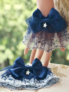 الحلو لوليتا الكم الطويل الرباط تريم ديب الأزرق الساتان القوس ستارليت ديكور لوليتا الملحقات