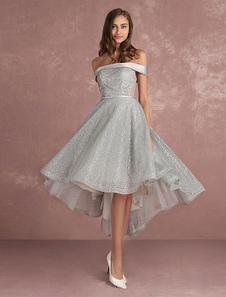 Vestido de fiesta 2020 Vestido de Baile de gris claro con escote de hombros caídos De banda de encaje de línea A sin mangas de encaje