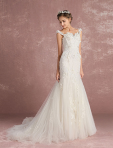 Русалка свадебное платье роскоши свадебное платье слоновой кости тюль кружева аппликация возлюбленной ремни бисером цветок свадебное платье со шлейфом