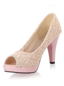 الأحمر عالية الكعب الدانتيل مكتنزة كعب زقزقة اصبع القدم الانزلاق على أحذية مضخة للنساء