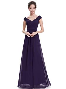 Vestido para la madre de los novios con cuello en V con manga corta con pliegues de línea A hasta el suelo vestidos de madrina de boda vestidos para mamá