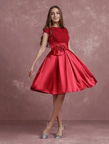 Vestidos de fiesta cortos Vestidos De Fiesta Rojos 2020 Línea-A Satén Mangas Cortas Longitud De Rodilla Vestidos Cortos Plisados De Bienvenida Con Lazo